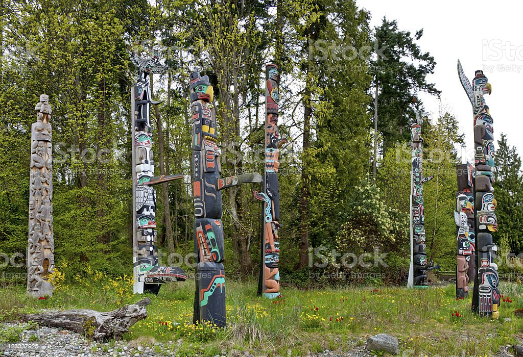 Indian Totem Poles at Vancouver Stanley Park stock photo