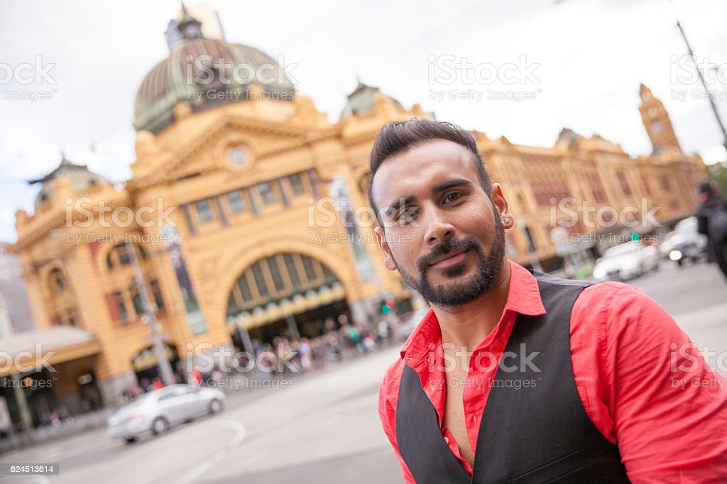 Indian Tourist at Flinders Street Station stock photo