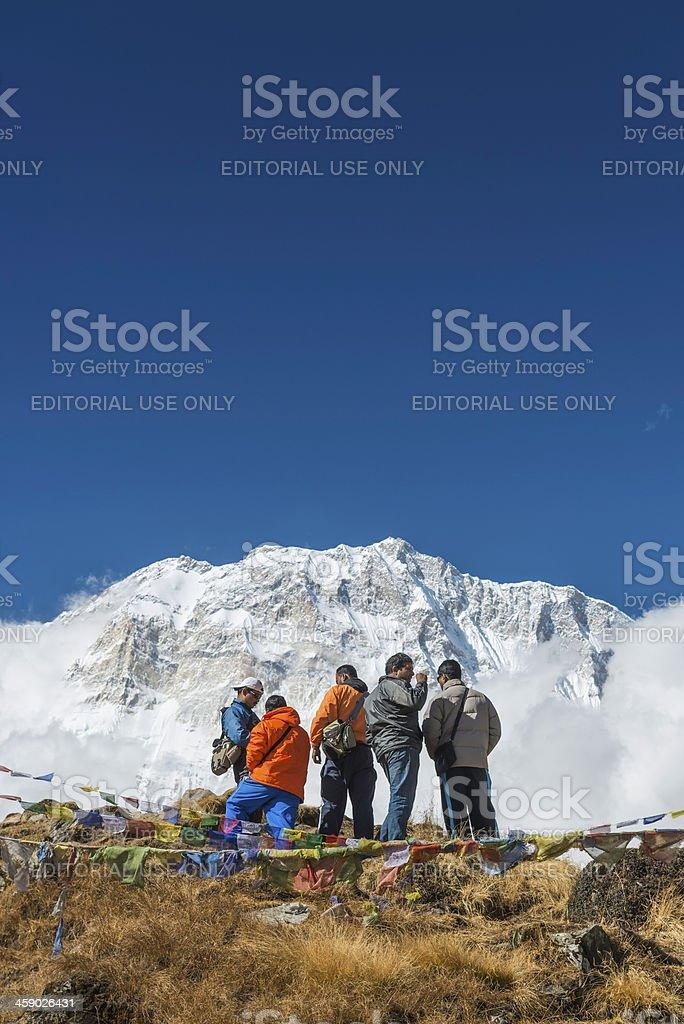 Indian tourists at Annapurna Base Camp Himalayas Nepal royalty-free stock photo