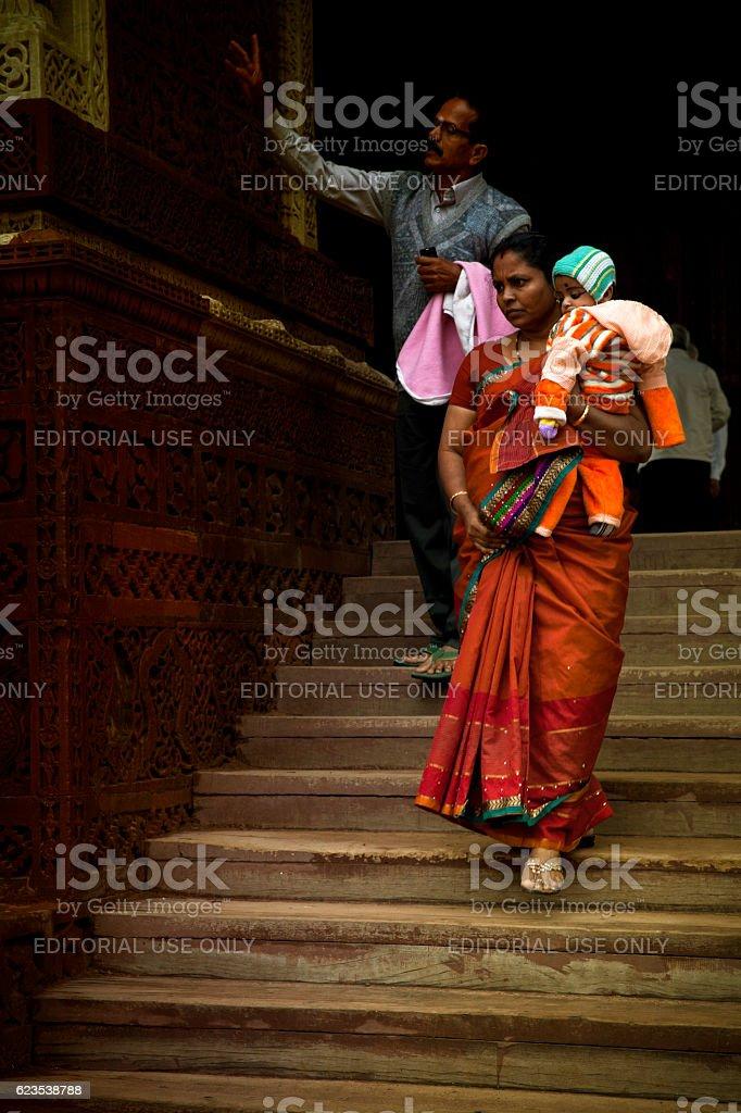 Indian Tourists at Qutub Minar. India stock photo