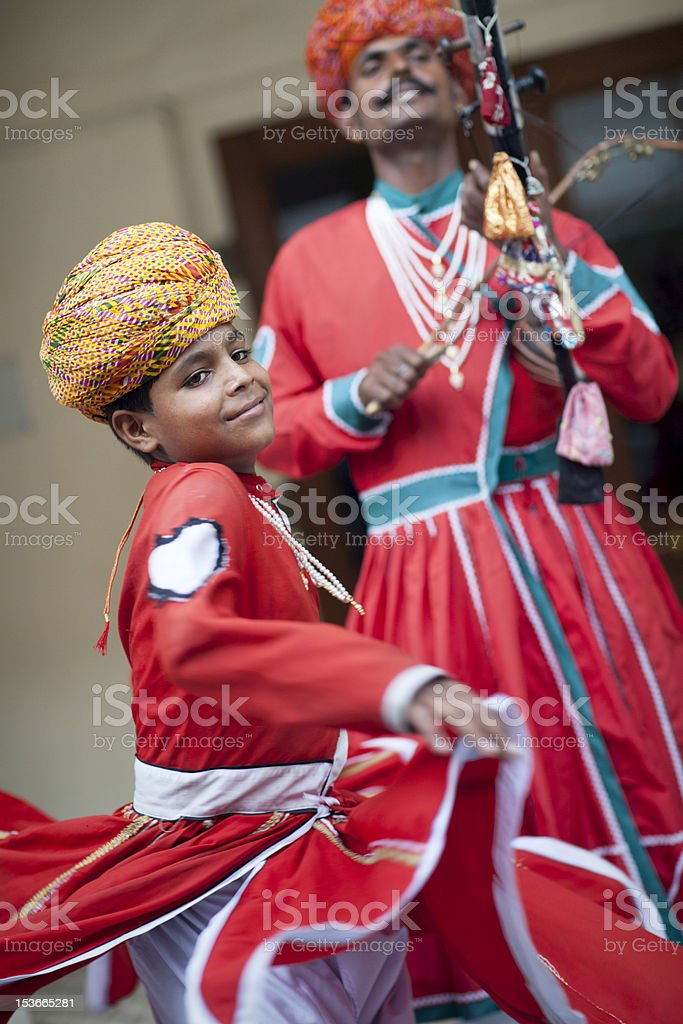 Indian Traditional Musician And Dancer, Jaipur, Rajasthan royalty-free stock photo