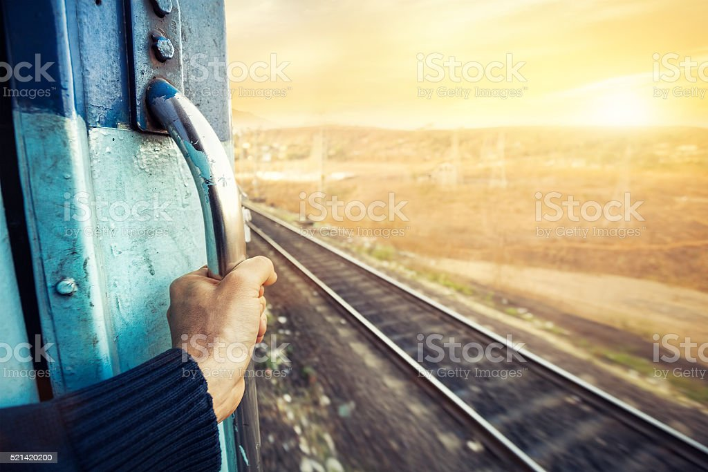 Indian train at sunset stock photo