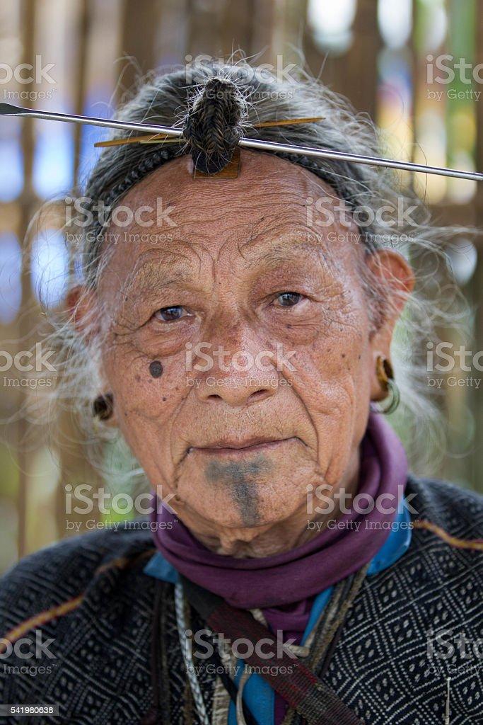 Indian tribal men,Arunachal Pradesh-India. stock photo