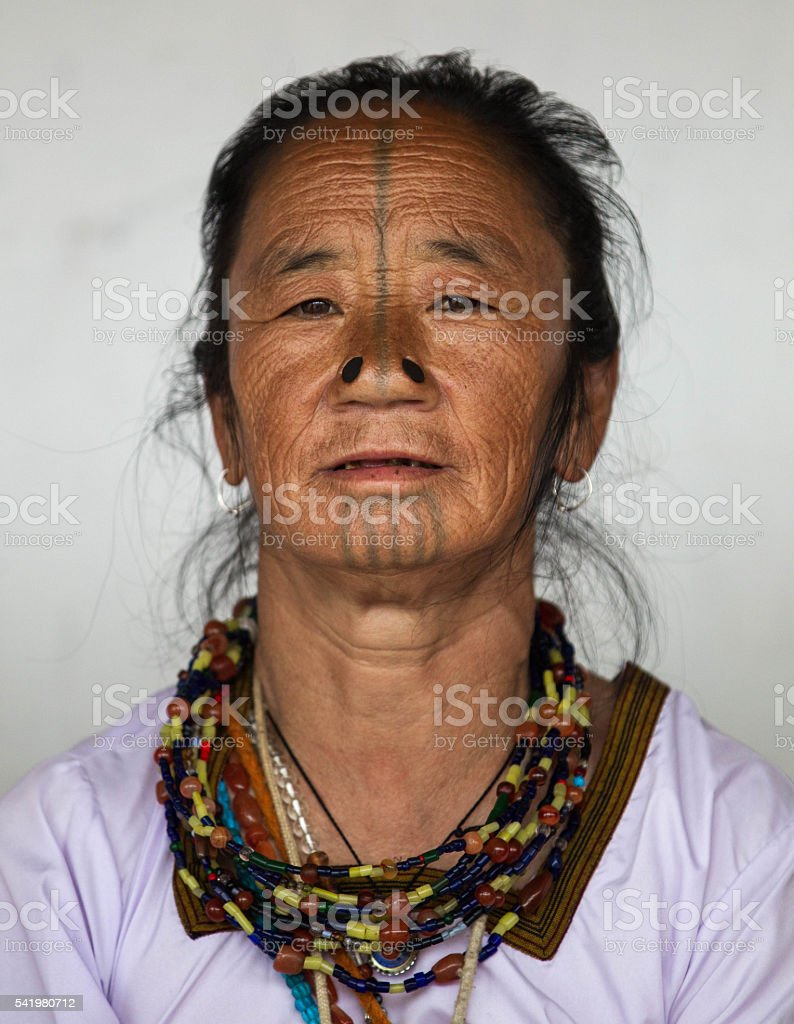 Indian tribal women,Arunachal Pradesh-India. stock photo