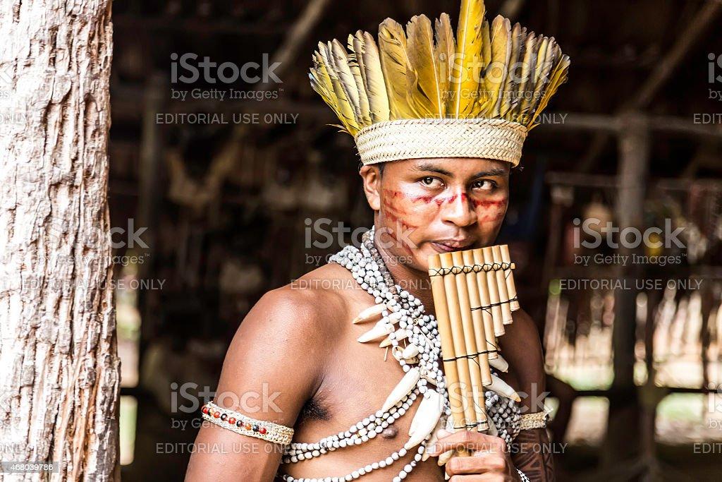 Indian tribe ritual in Amazon, Brazil stock photo