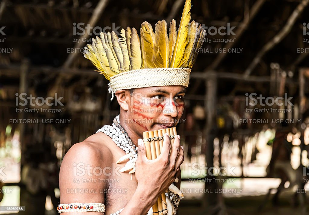 Indian tribe ritual in Amazon, Brazil stock photo
