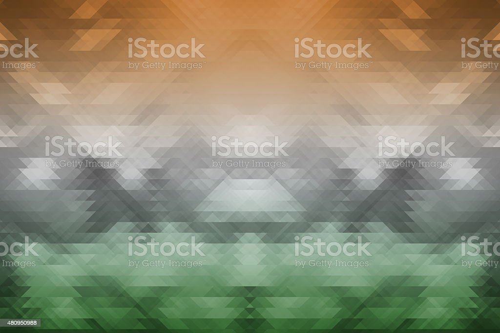 indian tricolors on triangle geometric background stock photo