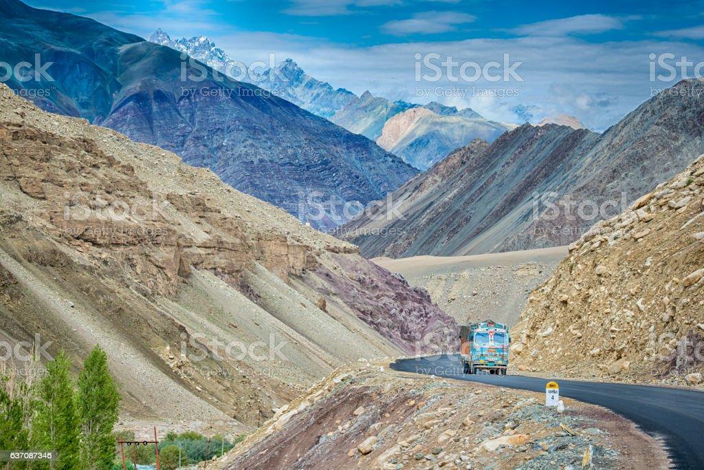 Indian truck on the Srinagar-Leh highway in Ladakh, India stock photo