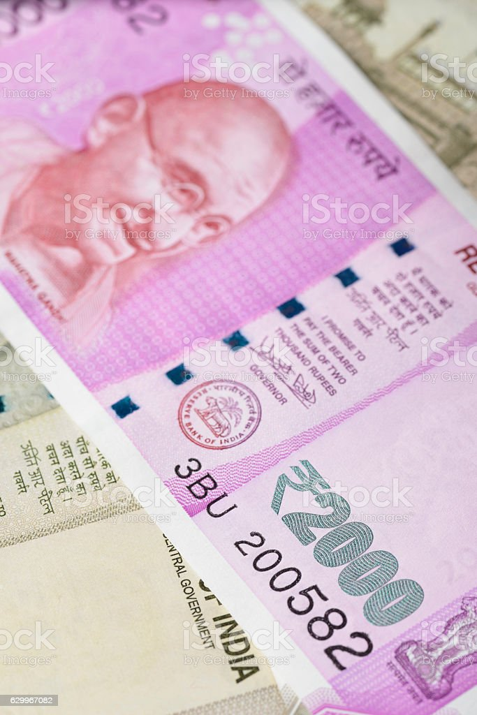 Indian Two Thousand Rupee Note with Mahatma Gandhi Portrait stock photo