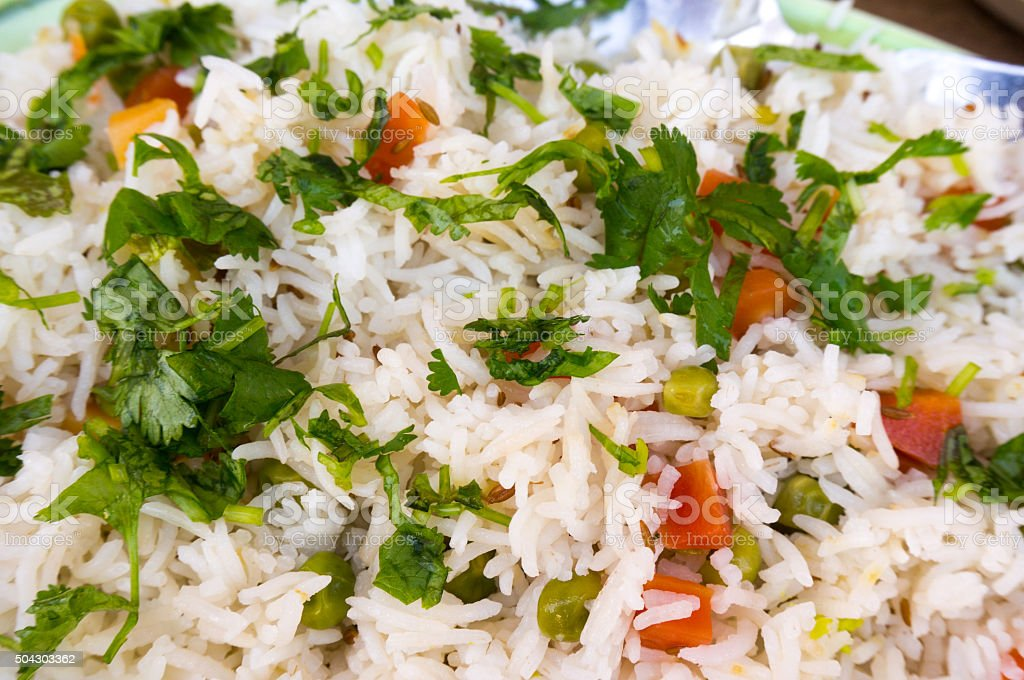 Indian vegetable pulao dish with rice and vegetables stock photo