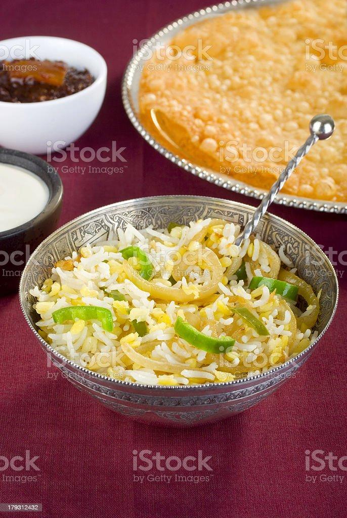 Indian Vegetarian Food Rice and Moong stock photo