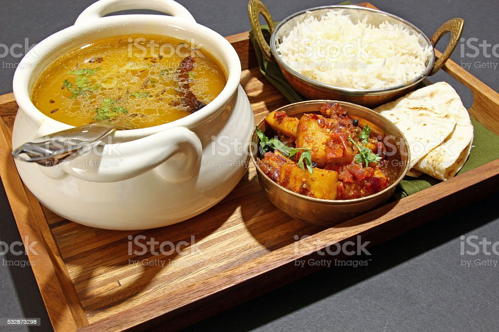 Indian vegetarian meal. stock photo