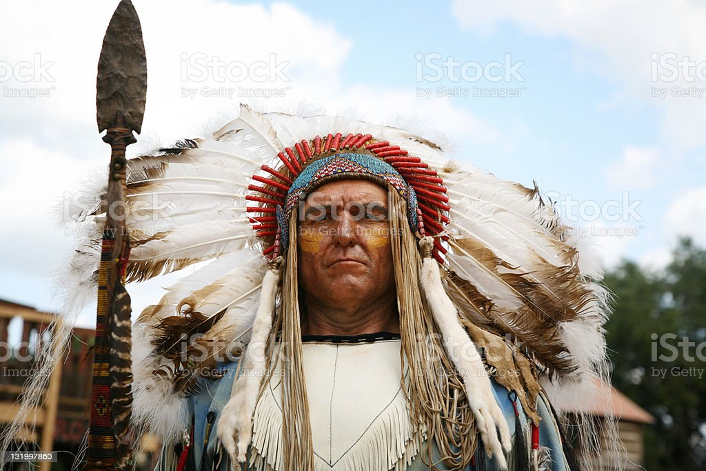Indian war chief stock photo