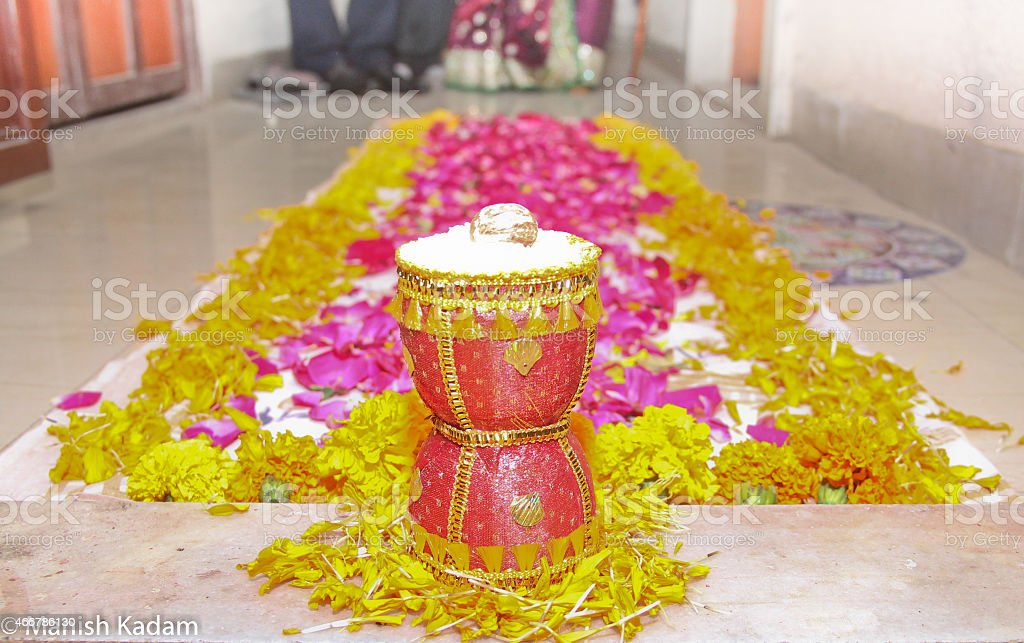 Indian Wedding Homecoming - Gruhapravesh/Grihpravesh stock photo