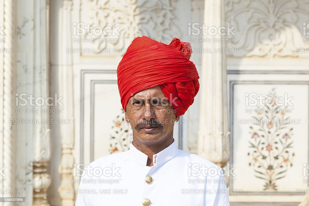 Indian welcome from guard in typicaldress royalty-free stock photo