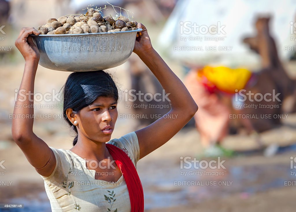Indian woman carrying a basin on head of camel dung. stock photo