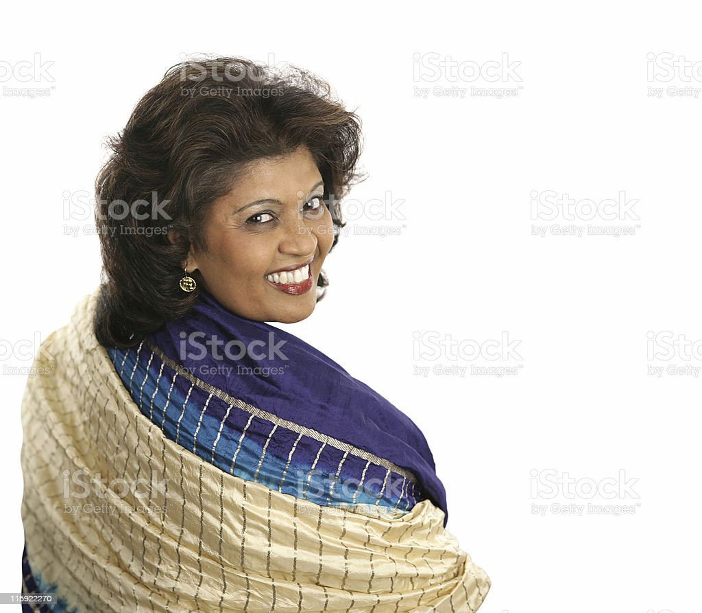 Indian Woman Colorful Shawl royalty-free stock photo