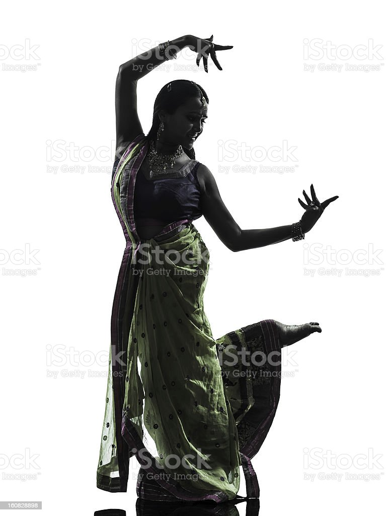indian woman dancer dancing  silhouette royalty-free stock photo