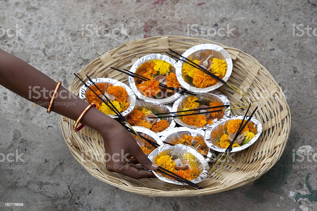 Indian woman flower seller in Varanasi royalty-free stock photo