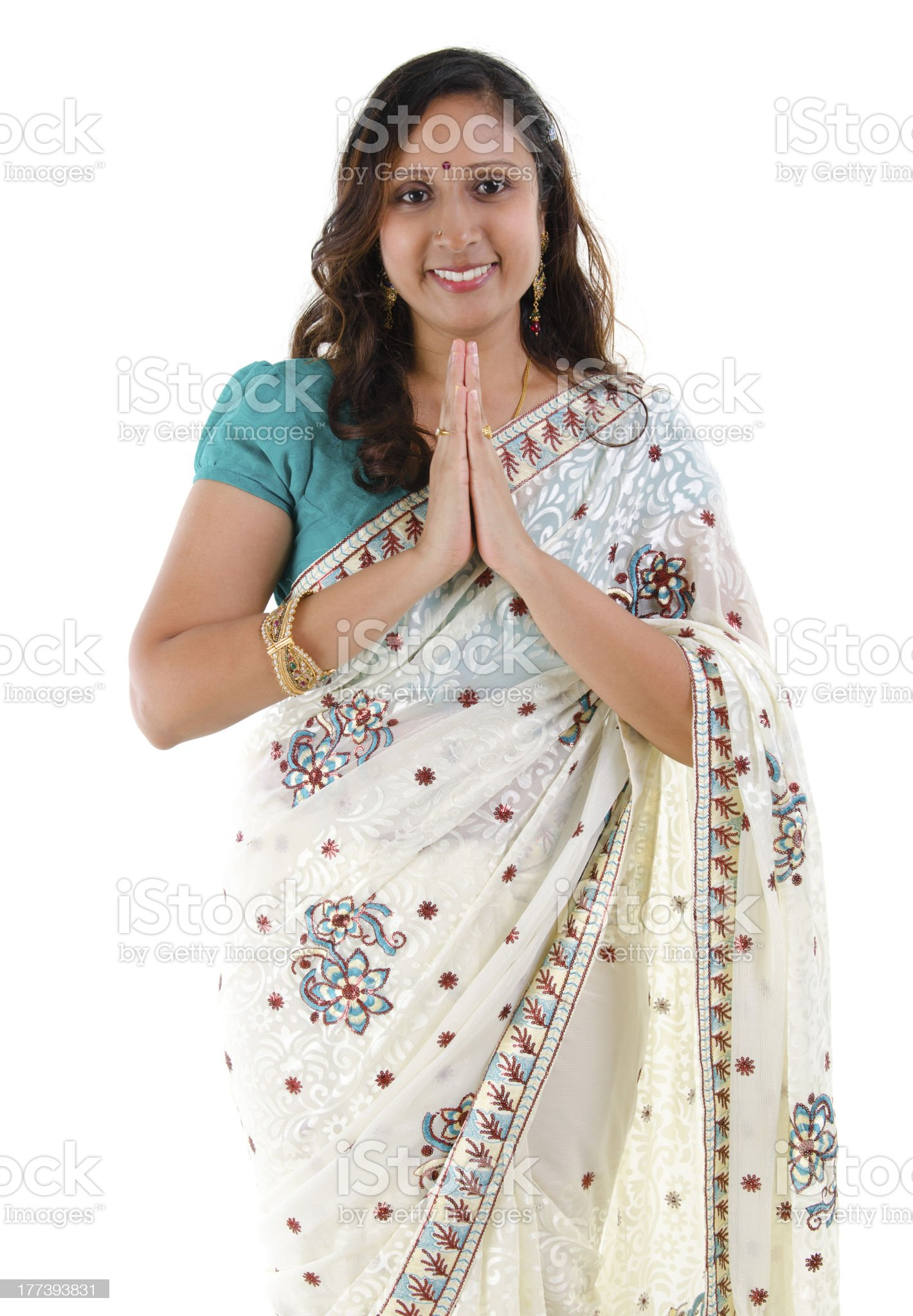 Indian woman greeting royalty-free stock photo