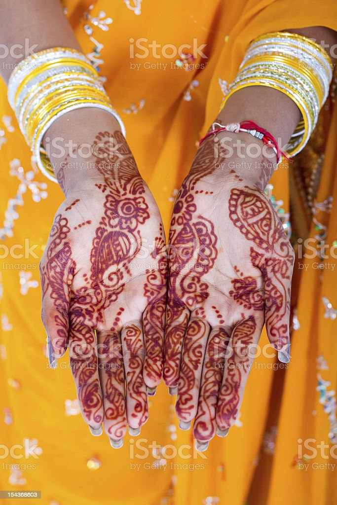 indian woman hands henna royalty-free stock photo