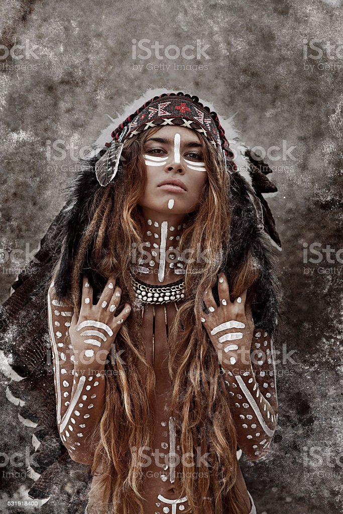 Indian woman hunter stock photo