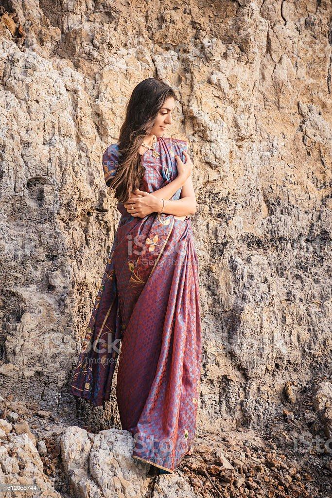 Indian woman in beautiful saree stock photo