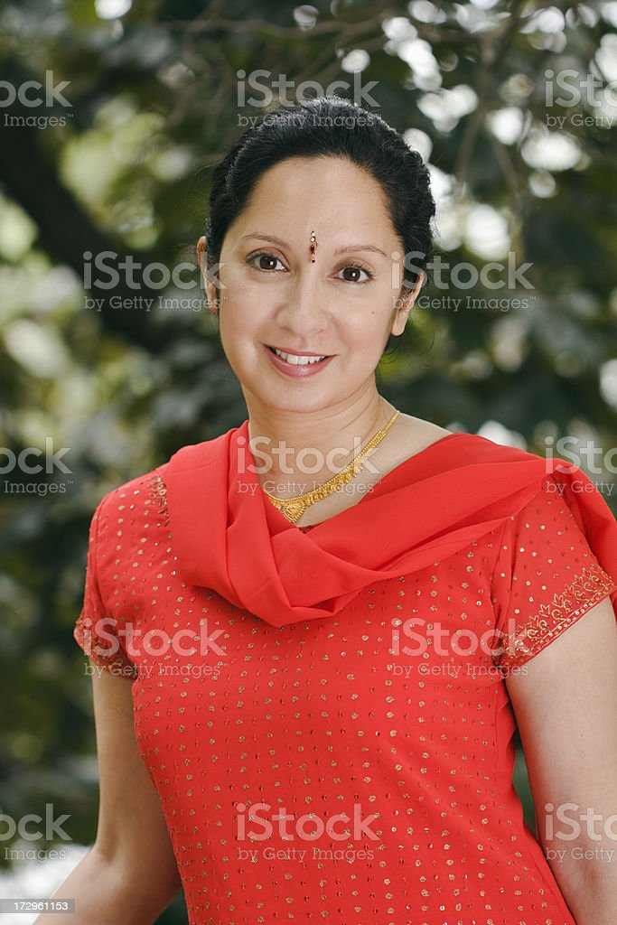 Indian Woman in Red royalty-free stock photo