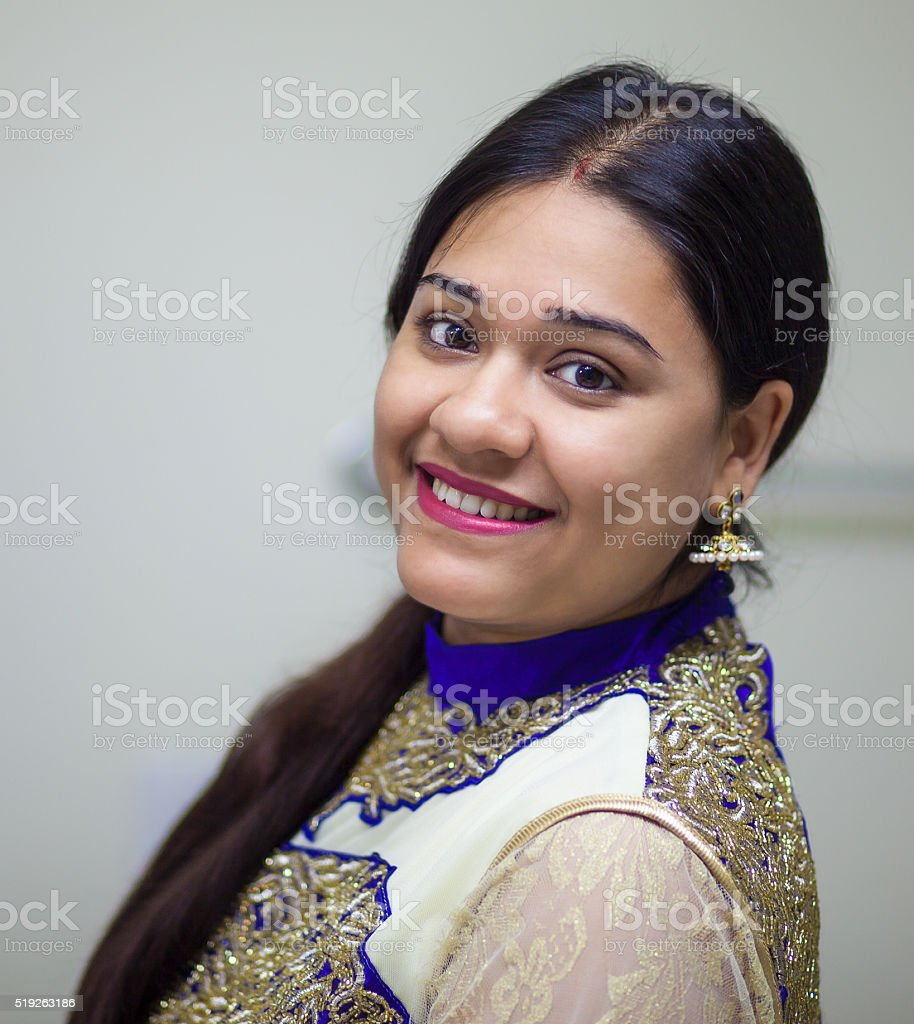 Indian woman in traditional dress with smile stock photo