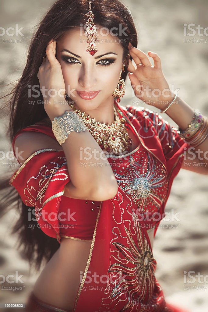 Indian woman in traditional wear stock photo