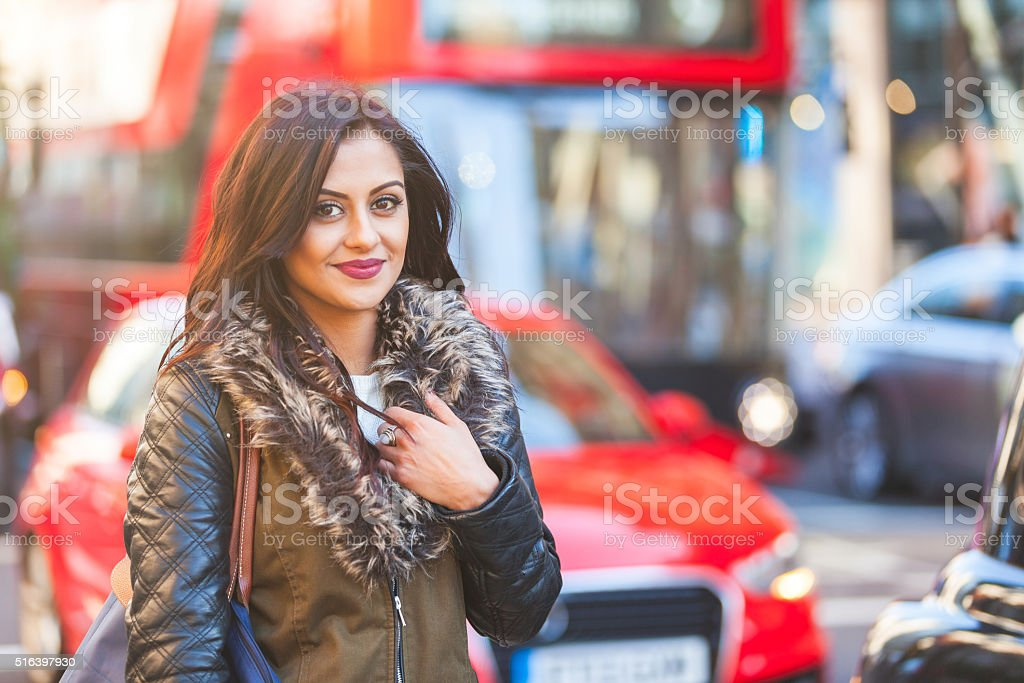 Indian woman portrait in London stock photo