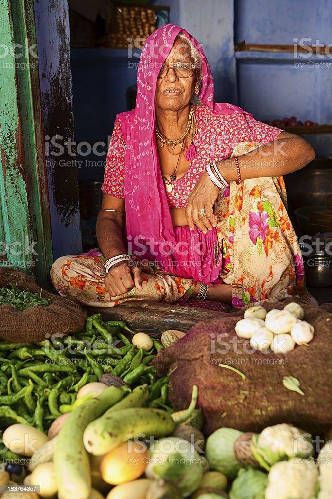 Indian woman selling vegetables. Jodhpur, Rajasthan. royalty-free stock photo