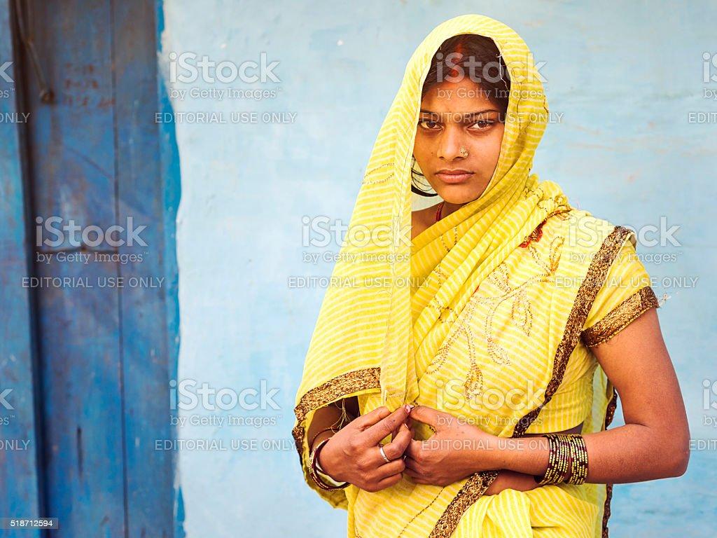 Indian Woman Wearing Traditional Sari Dress stock photo