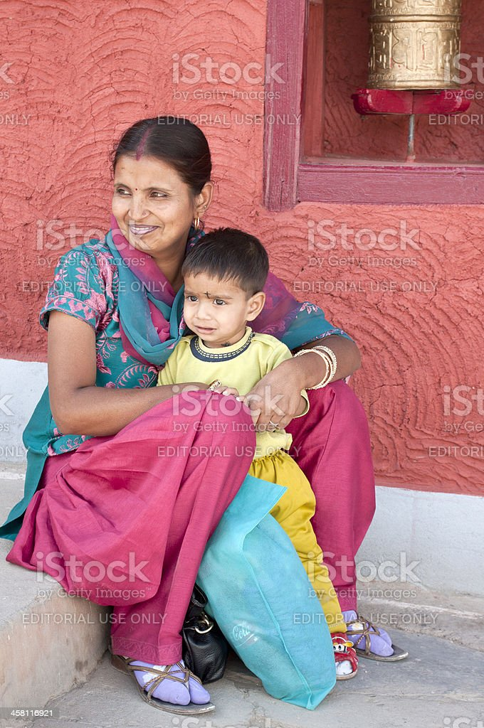 Indian Woman with Child Thikse Gompa Ladakh royalty-free stock photo
