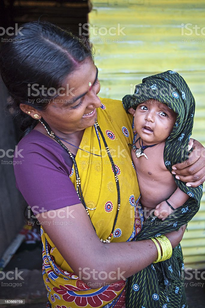 Indian woman with her baby royalty-free stock photo