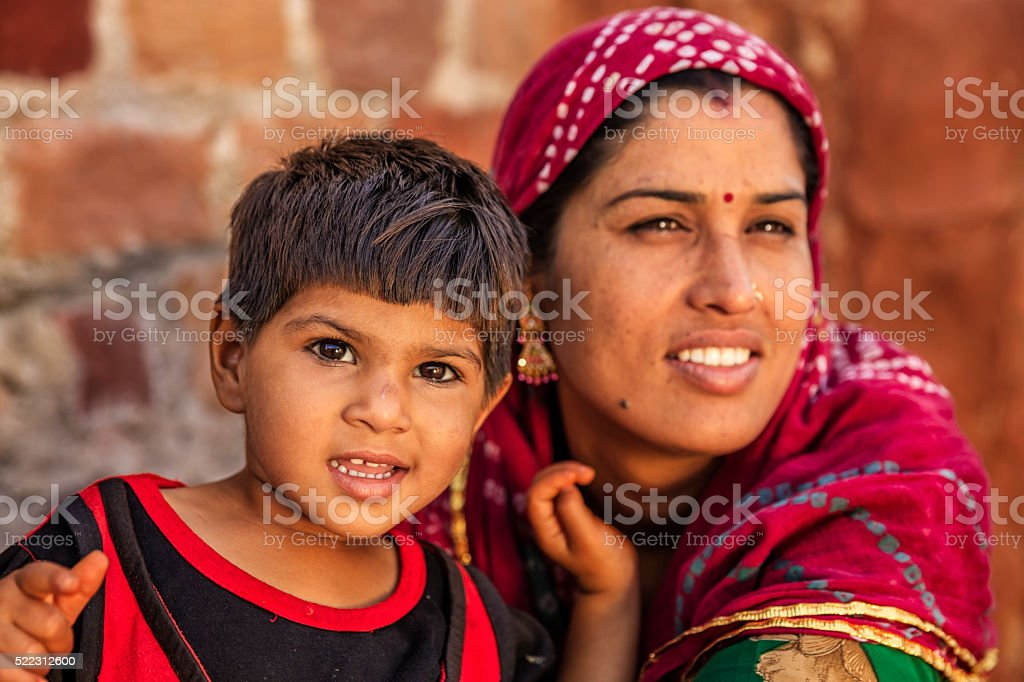 Indian woman with her daughter, Bishnoi village stock photo