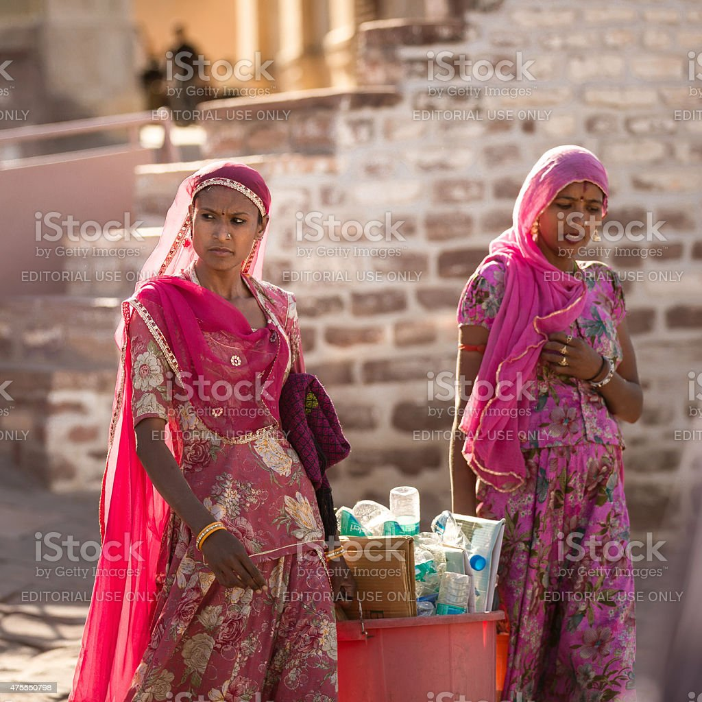 Indian woman working at Mehrangarh Fort stock photo