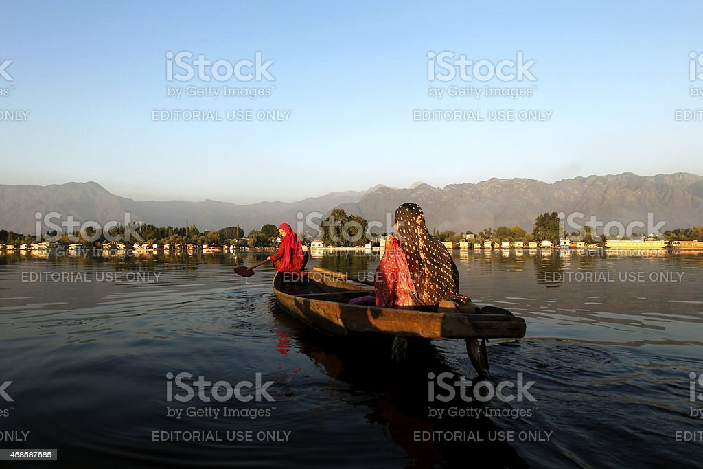 Indian Women boating in Dal Lake, India royalty-free stock photo
