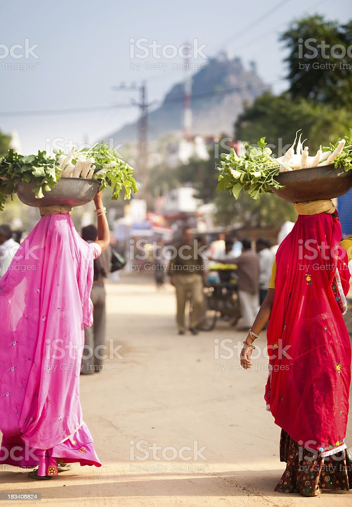 Indian Women Carrying Food stock photo