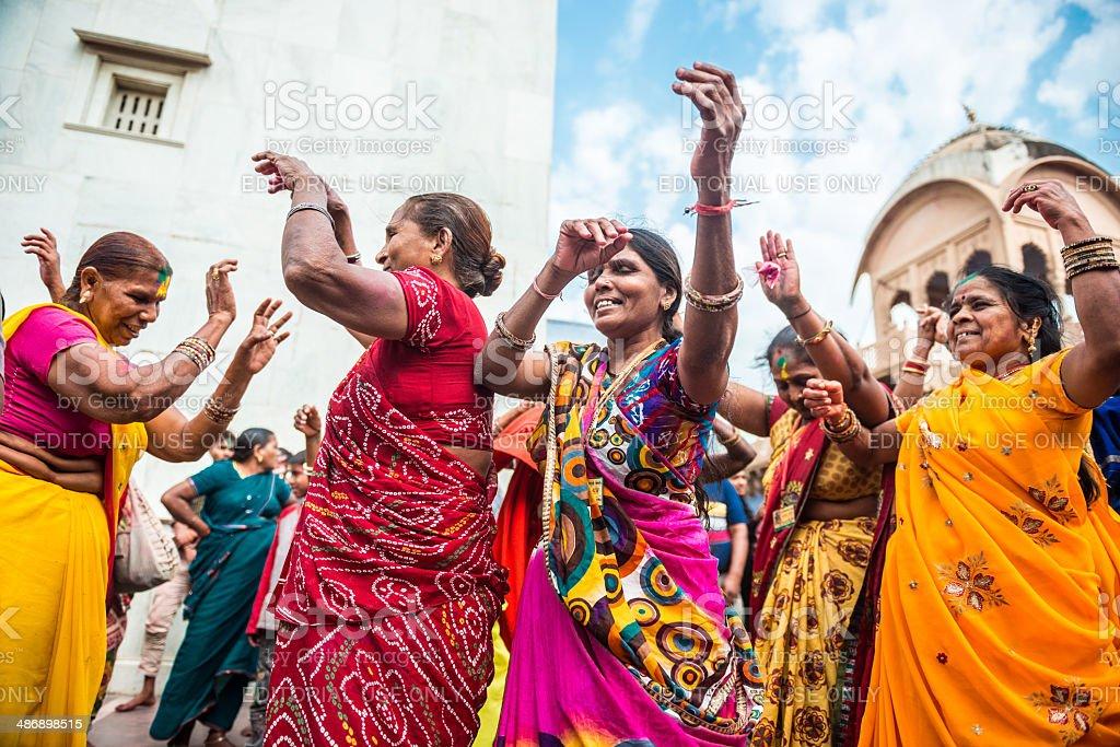 Indian Women Celenrating Holi stock photo