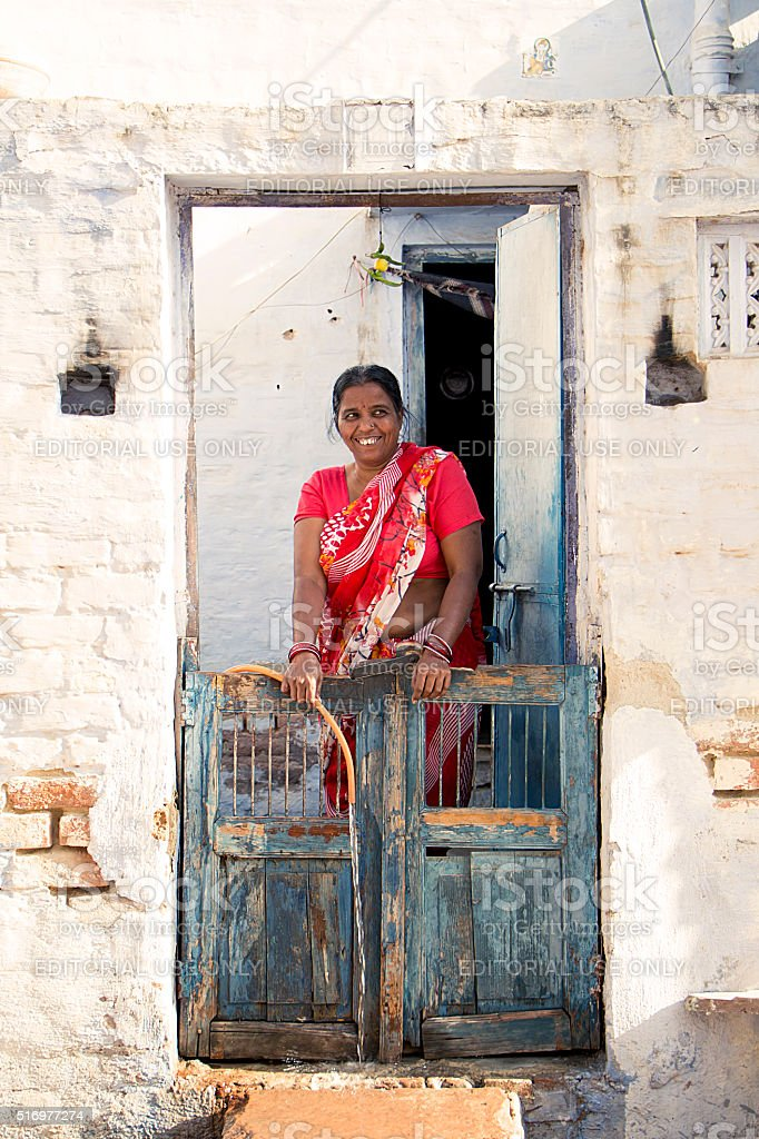 Indian women in red dress stock photo
