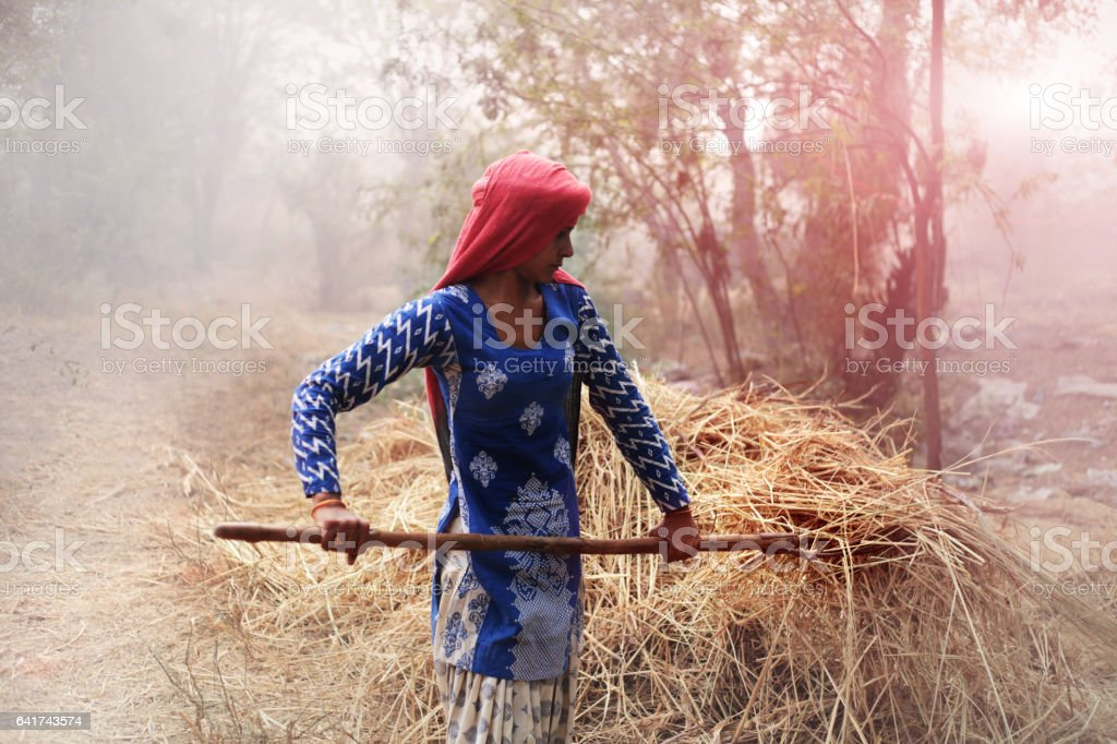 Indian women working portrait outdoor in the nature stock photo