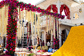 Indian Workers Prepare Floral Decorations, Jag Mandir Palace, Udaipur, India