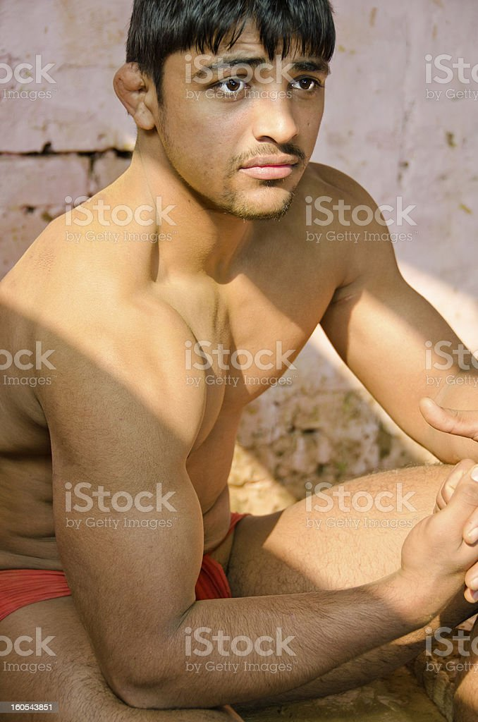 Indian wrestler stock photo