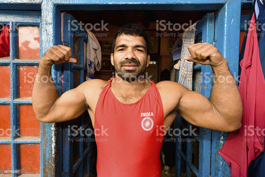 Indian Wrestler Posing New Delhi India stock photo