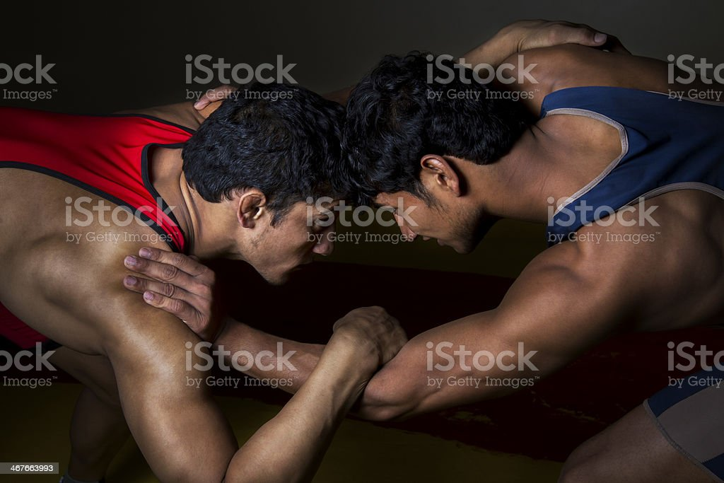 Indian wrestlers stock photo