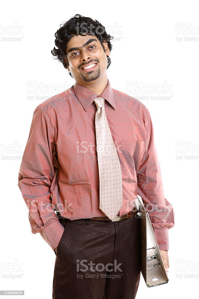 Indian young businessman with document stock photo