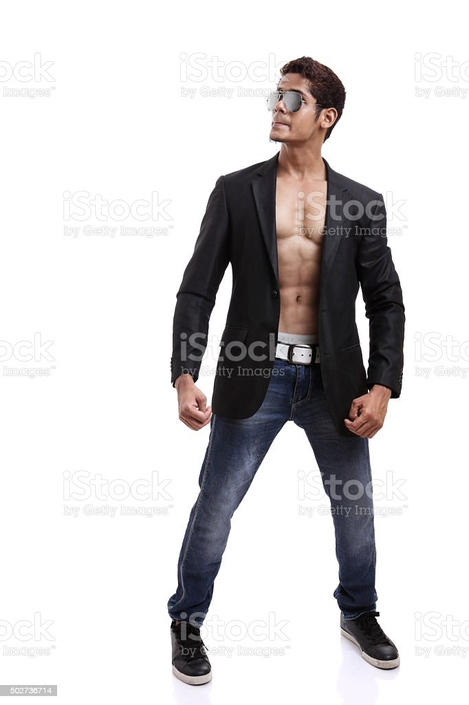 Indian young fitness man posing stock photo