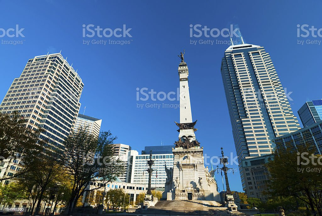 Indiana Downtown with Soldiers and Sailors Monument stock photo