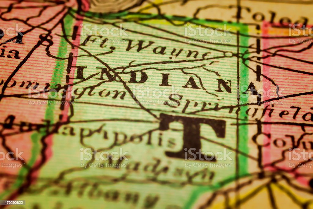 Indiana State on an Antique map stock photo
